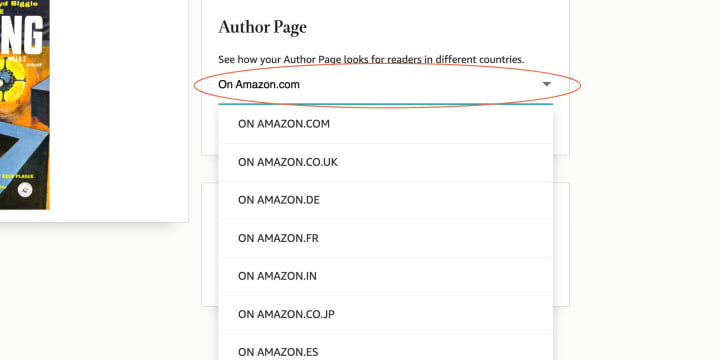 """You can check how your profile looks on any Amazon retailer through the """"Author Page"""" sub-menu"""