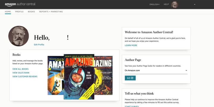 Author Central's home screen will be your central hub. From there, you can navigate to every feature.