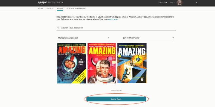 """You can add any books missing from your shelf with the """"Add Book"""" button"""