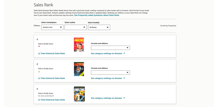 """The """"Sales Rank"""" menu shows you how well you book is performing in the Amazon store"""