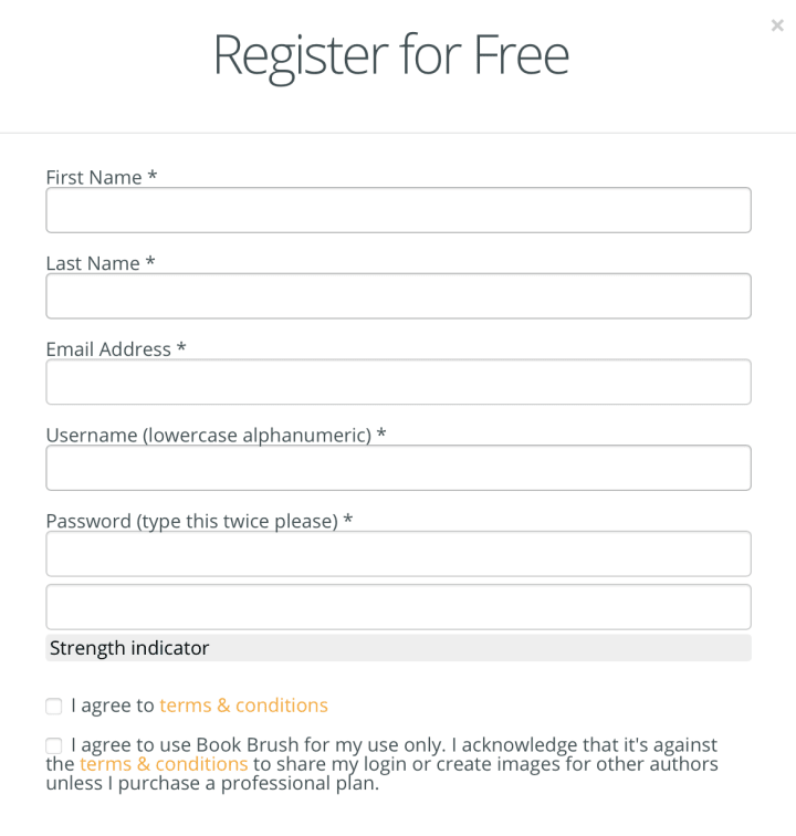 You can register a free BookBrush account without adding any credit card information.