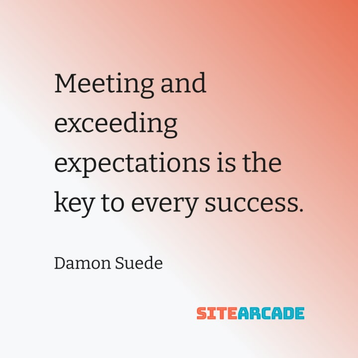 Quote card: Meeting and exceeding expectations is the key to every success.