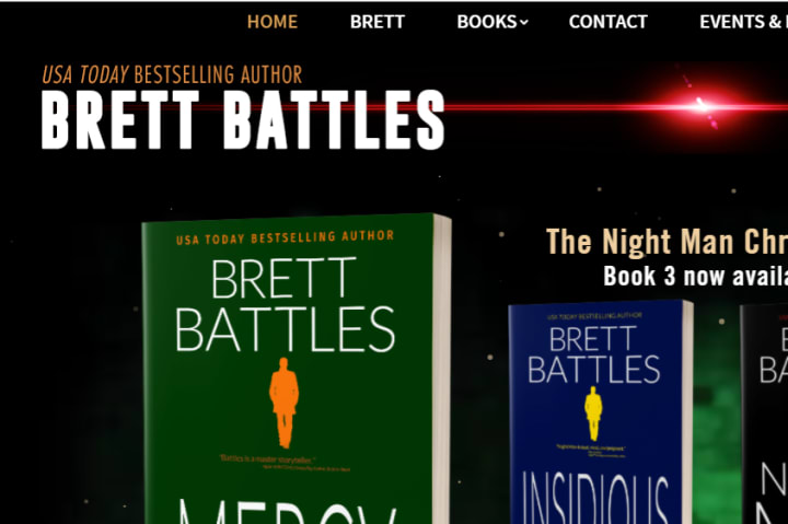 Screenshot: Brett Battles Logo on his Website