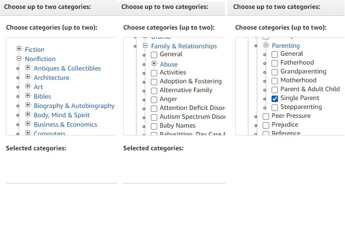 Example of genre selection menu on Amazon KDP