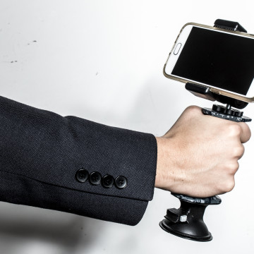 We use the Gerp to grab our iPhone and take pictures. The Gerp Grip allows for easier use and a steadier grip and it easily can be suction mounted to hold your camera or phone in good camera shooting positions.