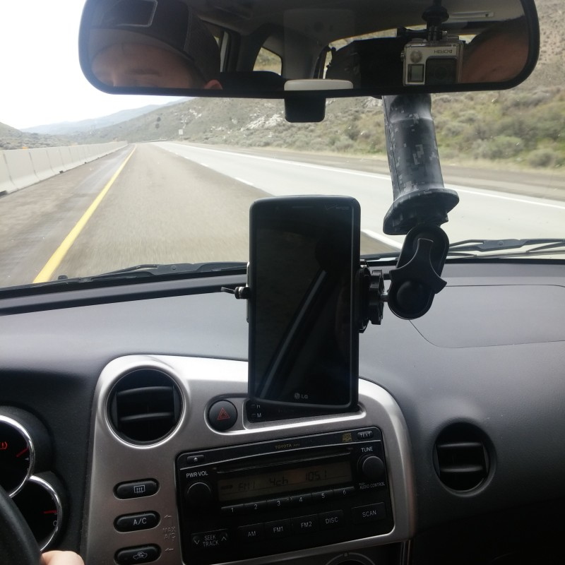 We took a road trip to California and the Gerp worked great as a windshield mount for our iPhone and Samsung Galaxy - The heads up display is very easy to adjust and find multiple viewing angles. We even used it on the sunroof to get cool videos.