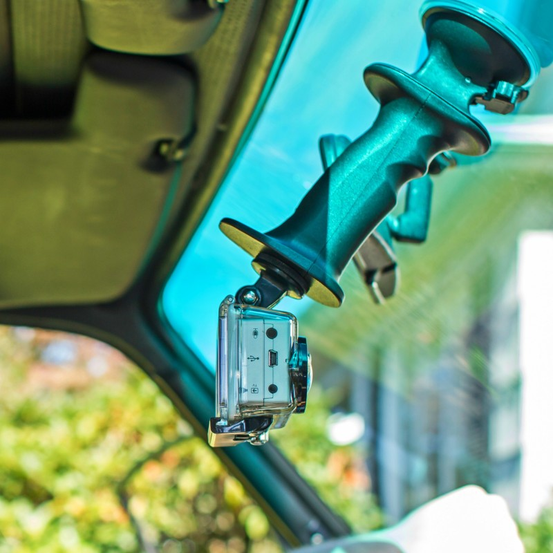 Mount your GoPro action video camera to the inside or outside of your windshield. Gerp makes a great mount and suctions to glass like a champ. A great GoPro grip when it's not mounted to your car or truck.