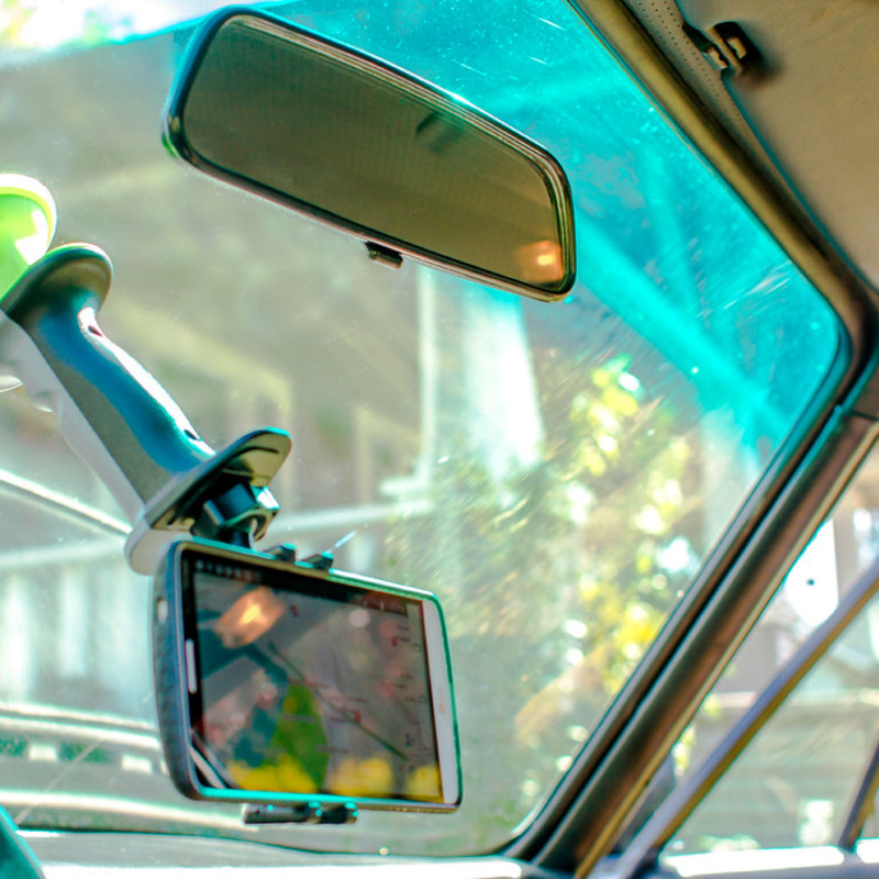 Windshield Phone Mount. Great with all sizes of smart phones and GPS devices. Super strong and reliable suction will remain in place for months at a time.