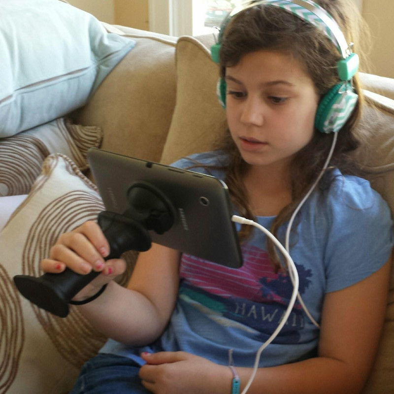 Gerp helps you sit up straight and hold your devices in ergonomically correct ways. Gerp works on Smart Phones, Tablets, Electronic Readers, and all sorts of Camera Equipment. Kids love the product and it works great in the car.