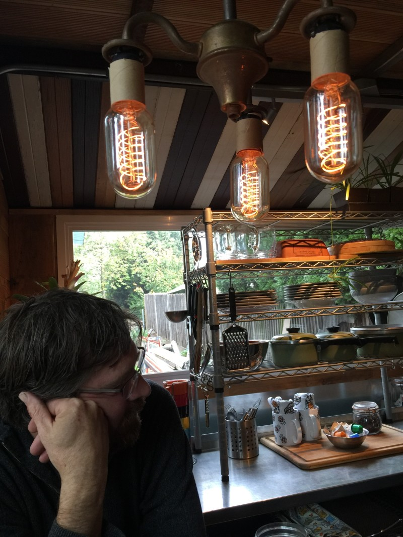 Iconic light fixture in the Firebird tiny house by Eric Bohne