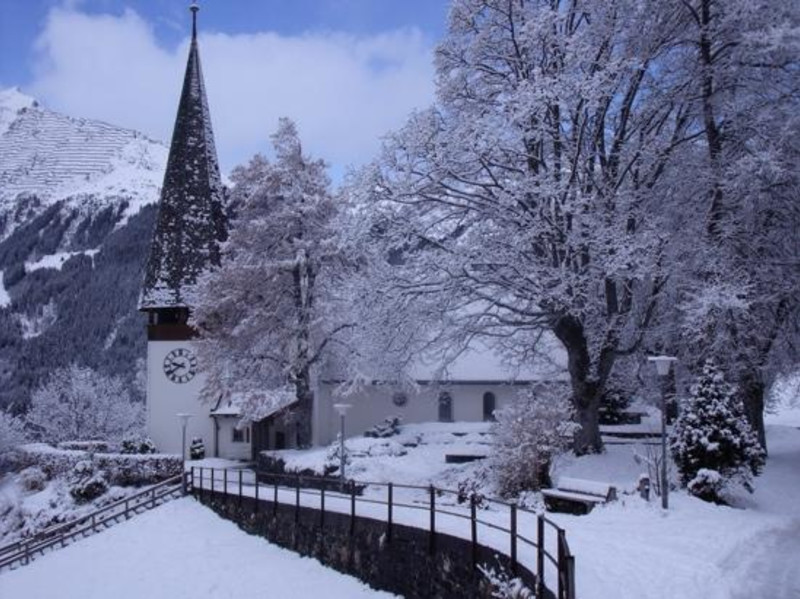 The Church in Wengen just a few days ago... with more snow on the way!