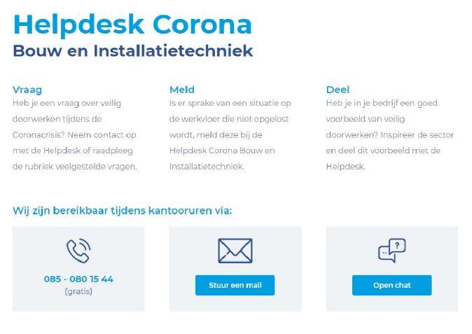 Helpdesk Corona Bouw en Installatietechniek