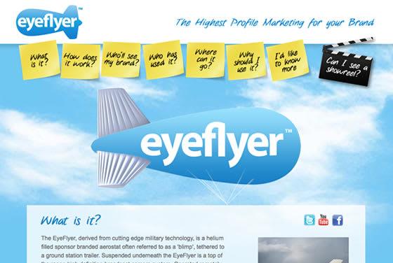 Screenshot of the Eyeflyer website