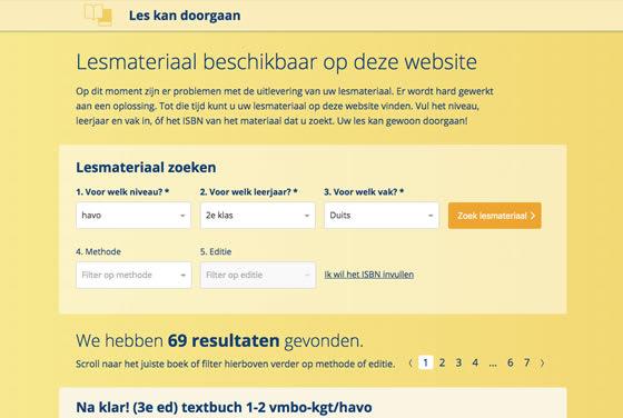 Screenshot of the Les kan doorgaan website