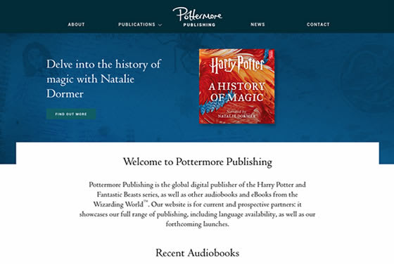 Screenshot of the Pottermore Publishing website
