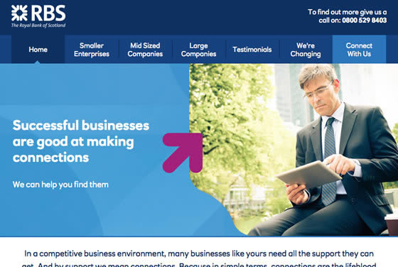 Screenshot of the RBS Business Connections website