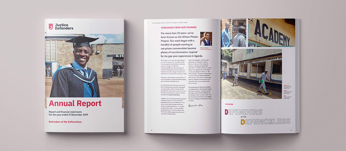 Annual report cover and spread