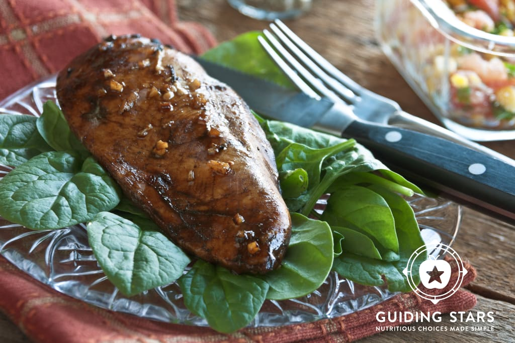 Balsamic Chicken over Spinach