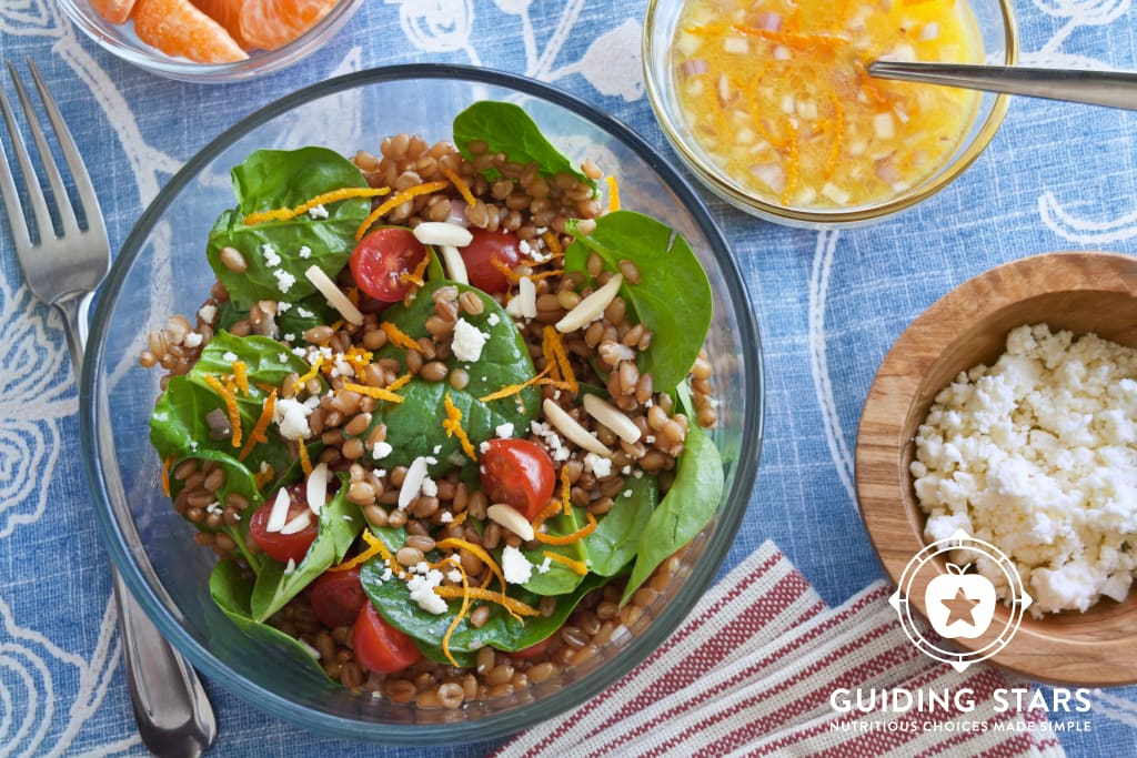 Wheat Berry Salad with Spinach, Orange and Almonds