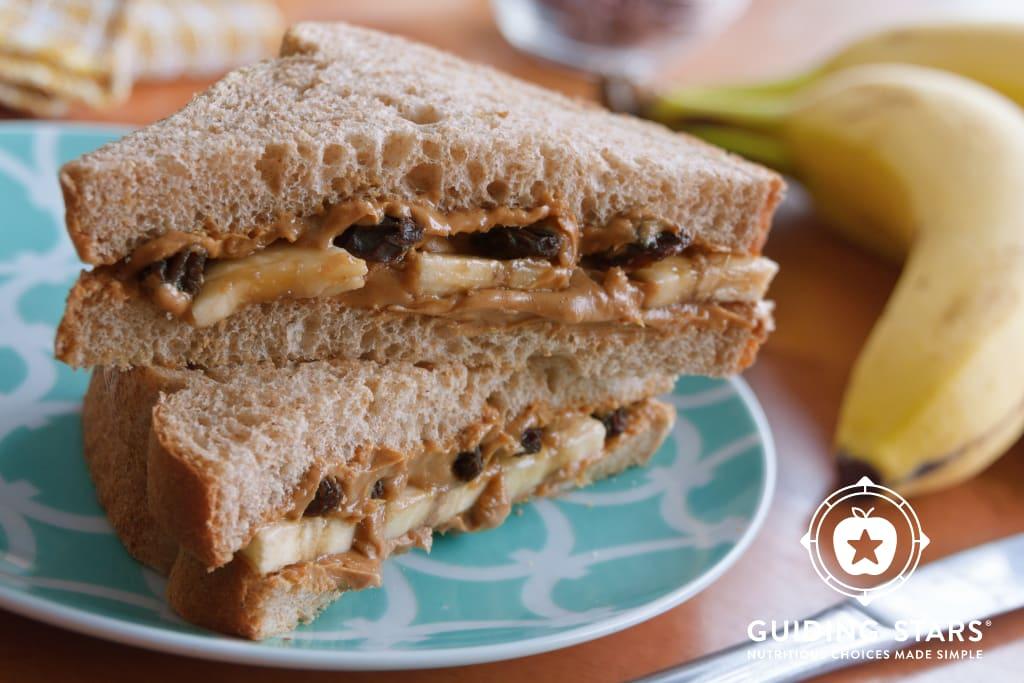 Peanut Butter, Banana & Raisin Sandwich