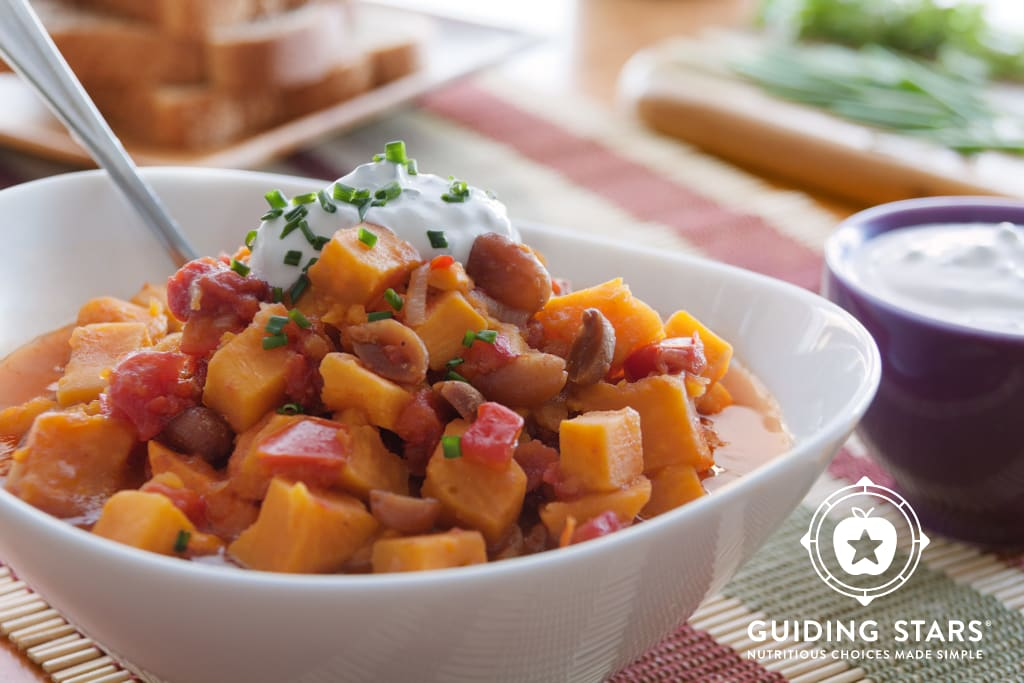 African Ground Nut Stew with Sour Cream-Chive Topping