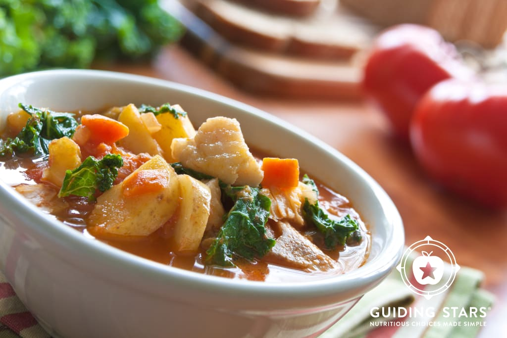 Mediterranean Fish Chowder with Potatoes and Kale.