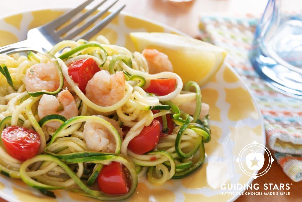Lemon-Garlic Zoodles with Shrimp