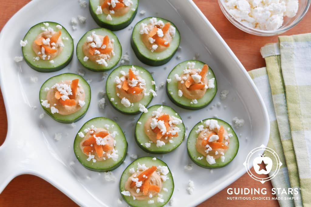 Roasted Red Pepper Hummus Cucumber Bites