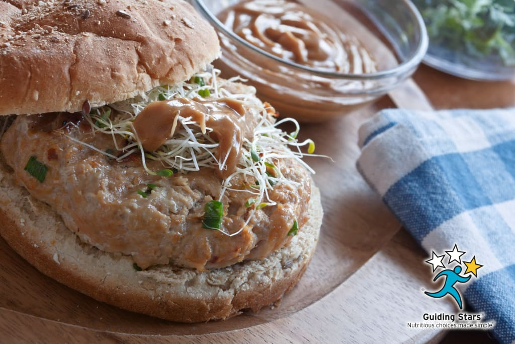 Chicken Burgers with Peanut Sauce