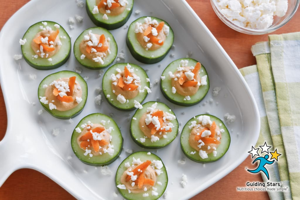Roasted Red Pepper Hummus Cucumber Bites