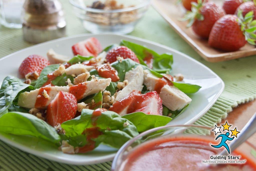 Chicken Strawberry Salad with Warm Citrus Dressing