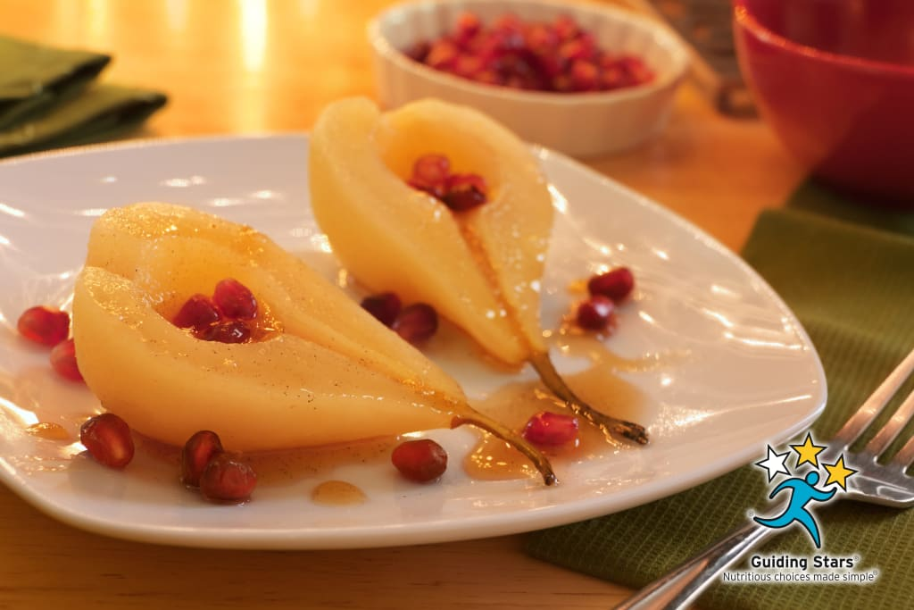 Poached Pears with Pomegranate Seeds