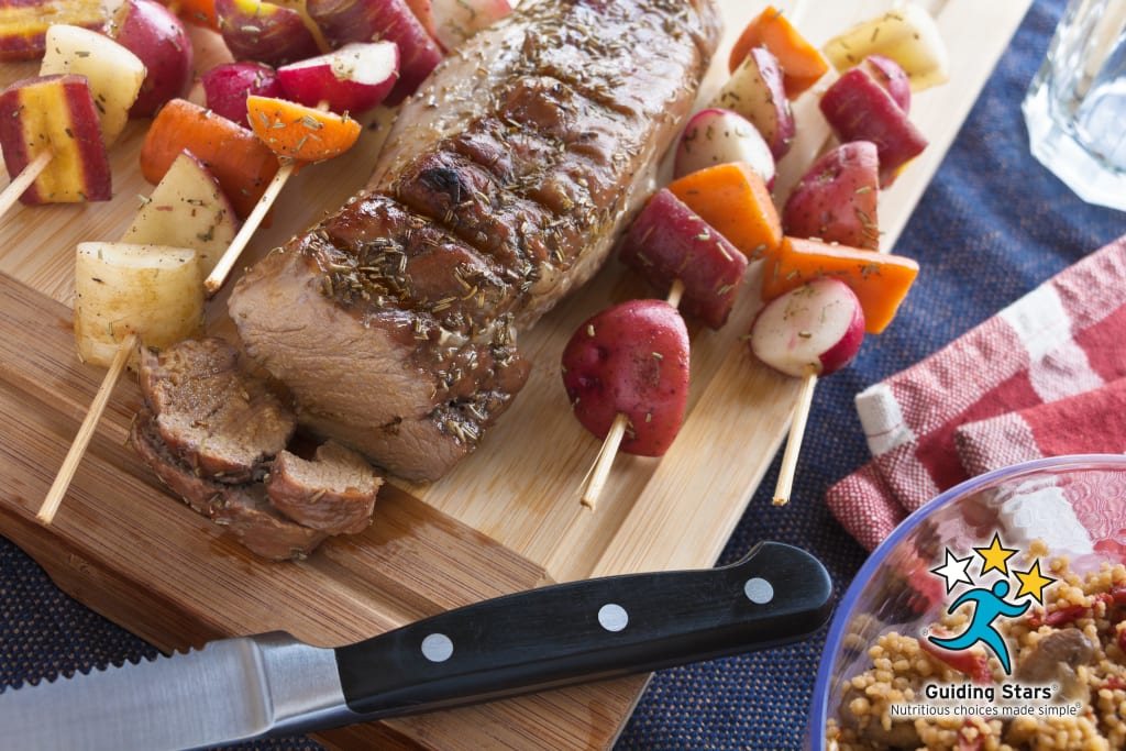 Grilled Pork Loin with Rainbow Root Kebabs