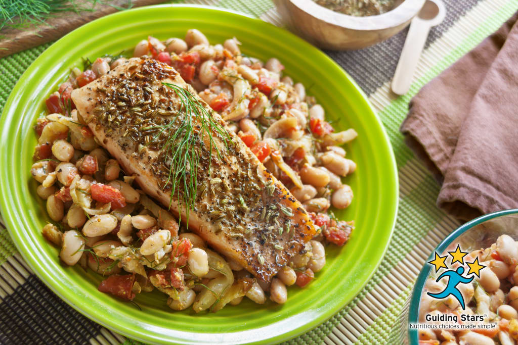 Fennel-Crusted Salmon on White Beans