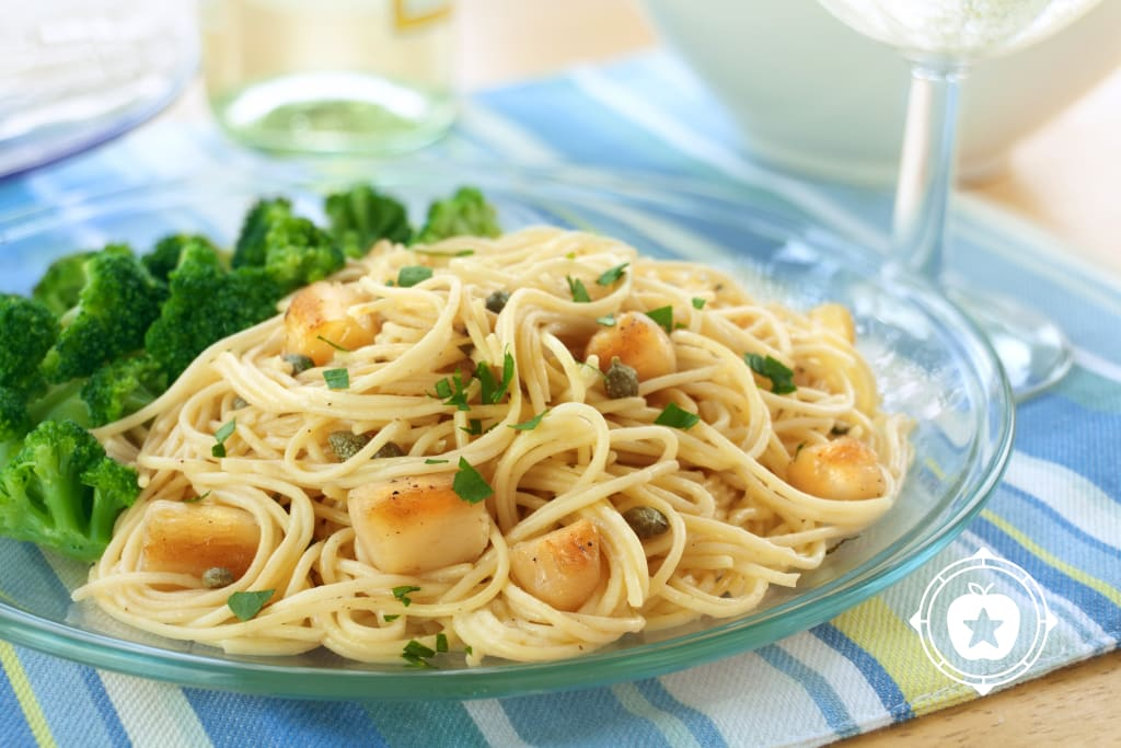 Scallop Piccata on Angel Hair