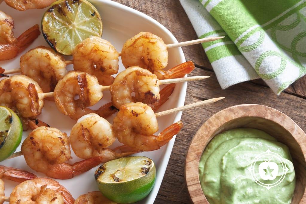 Peruvian Shrimp with Green Sauce