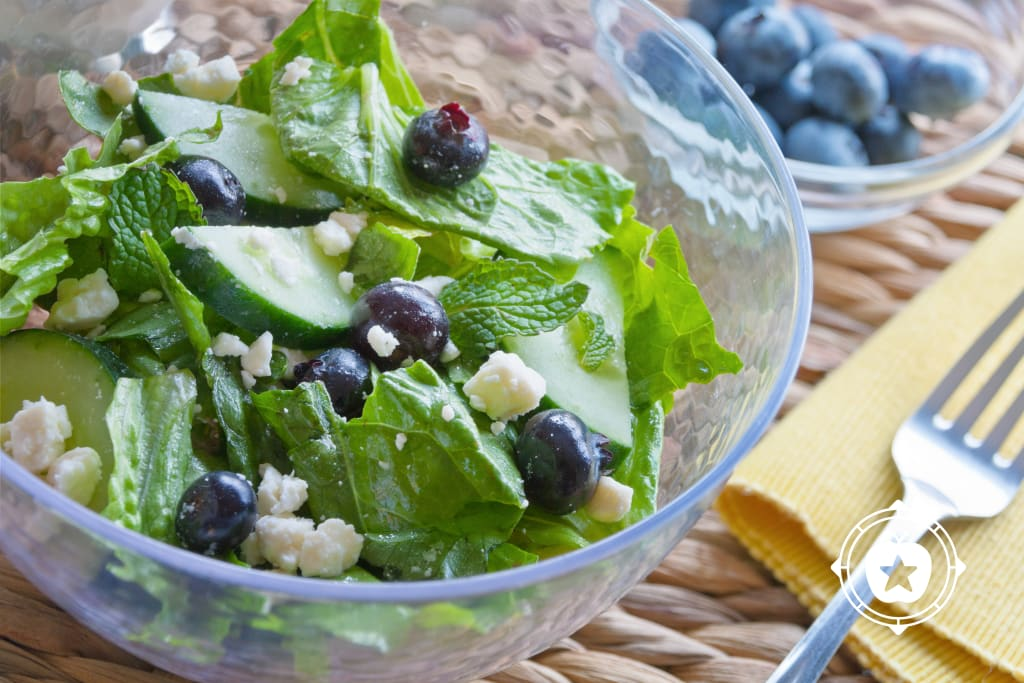 Blueberry Mint & Cucumber Salad with Feta