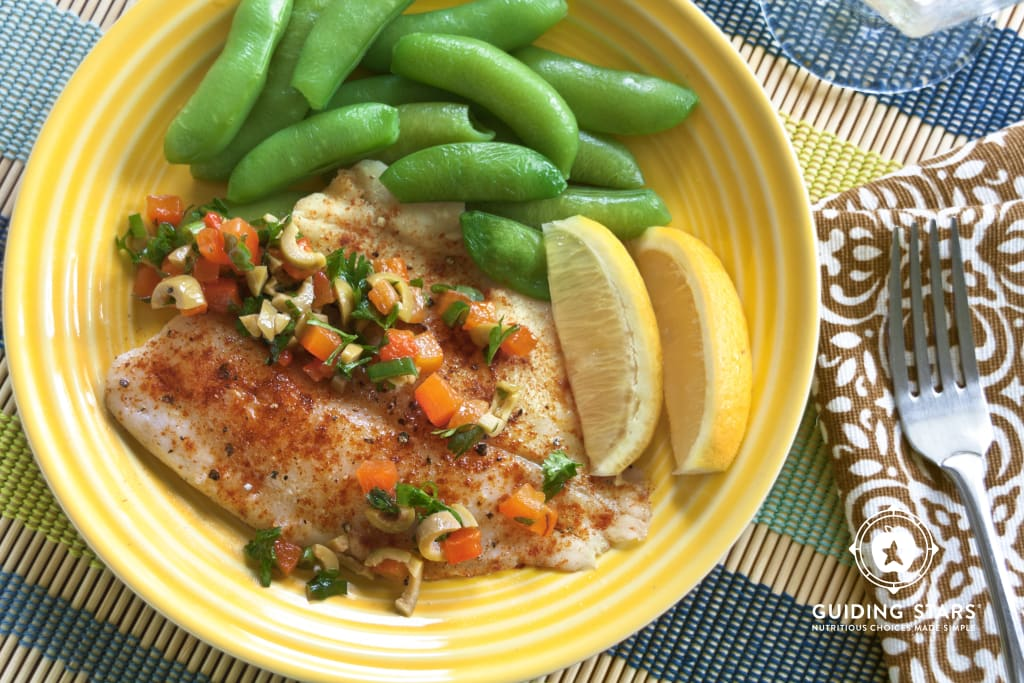 Tilapia with Roasted Red Bell Peppers and Olives