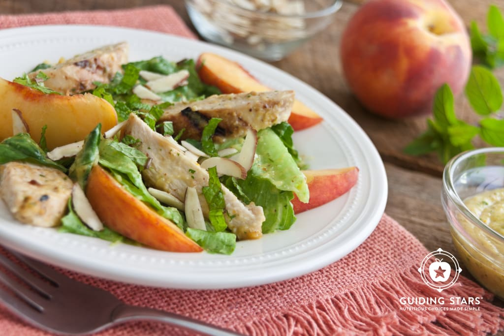 Romaine Salad with Chicken, Peaches & Mint