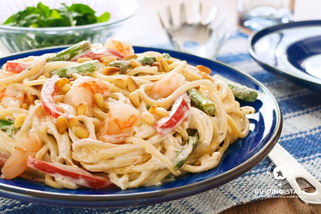 Creamy Garlic Pasta with Shrimp & Vegetables