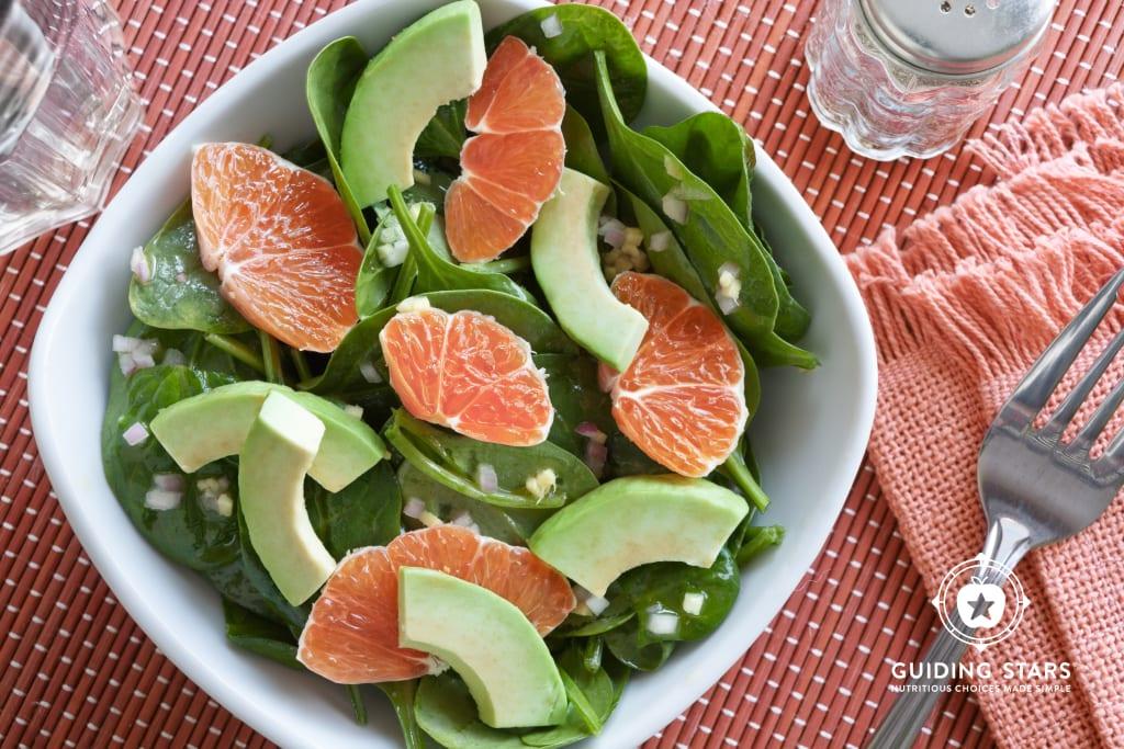 Asian Spinach Salad with Orange & Avocado.