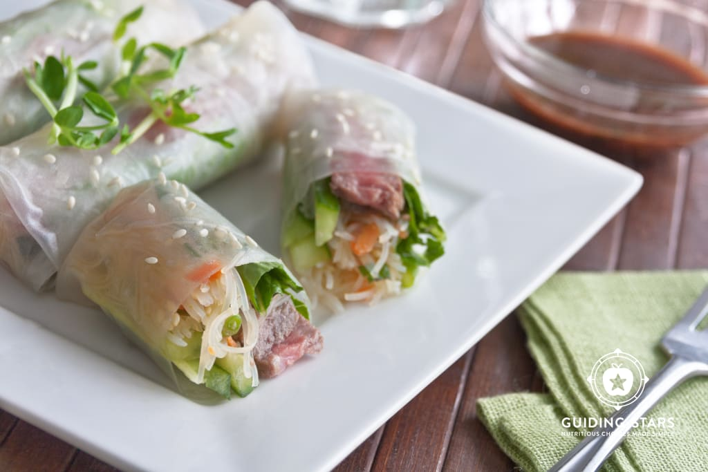 Fresh Spring Rolls with Sesame-Tamari Grilled Steak