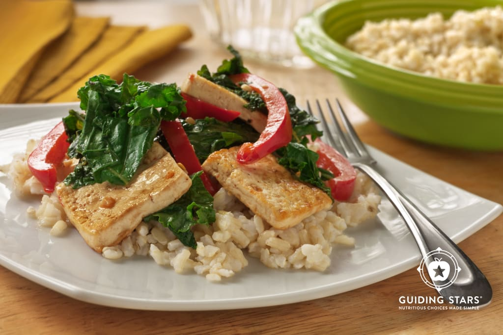 Spicy Tofu Stir-Fry with Kale and Red Peppers