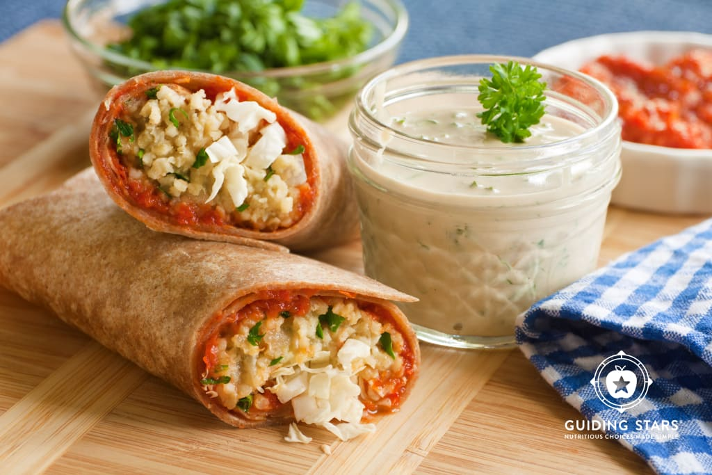 Spicy Lentil Wraps with Red Pepper Paste and Tahini Sauce