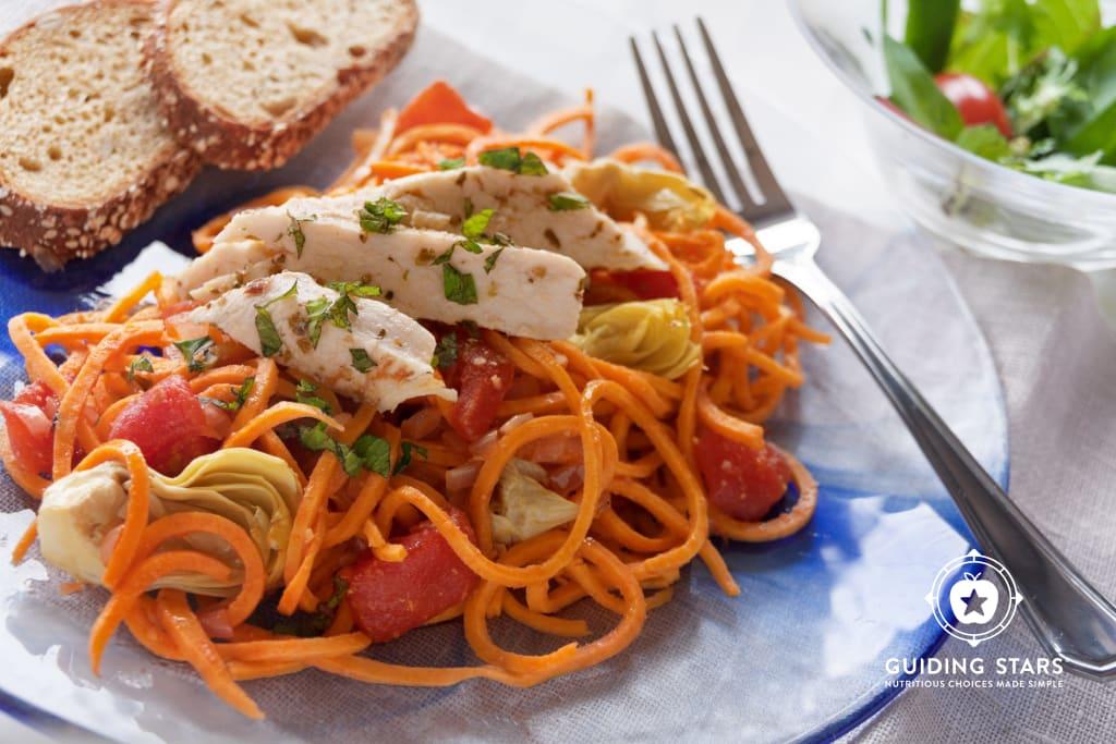 Artichoke & Chicken Sweet Potato Noodles