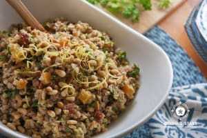 Red Lentil Salad with Dried Fruit & Toasted Pine Nuts
