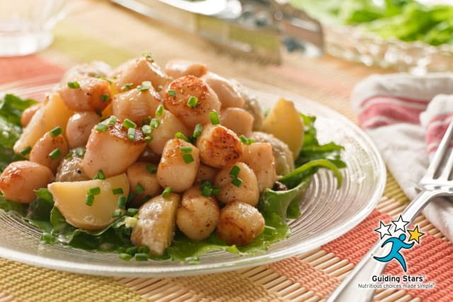 Seared Scallops with New Potatoes and Field Greens