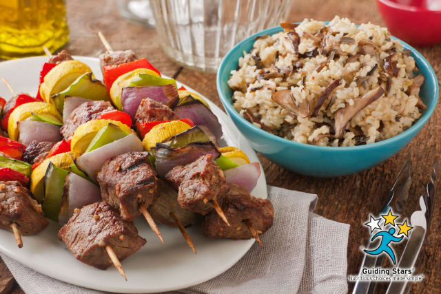 Dijon Wine Steak Kebabs with Mushroom Wild Rice