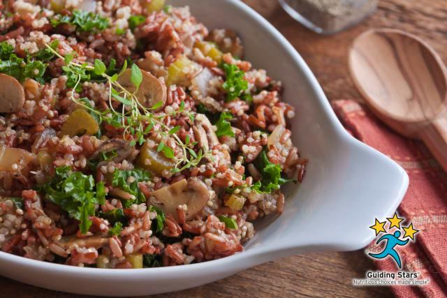 Rice & Quinoa Dressing With Mushrooms & Kale