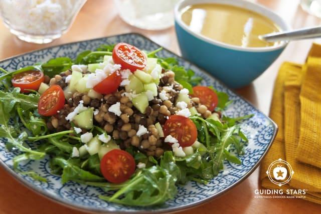Couscous, Lentil & Arugula Salad with Garlic-Dijon Vinaigrette